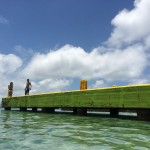 bright green pier caribbean water